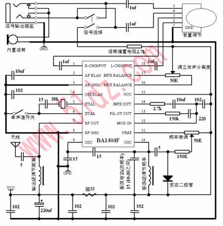这个电压信号改变外接变容二极管的电容值,继而改变载波的振荡频率.